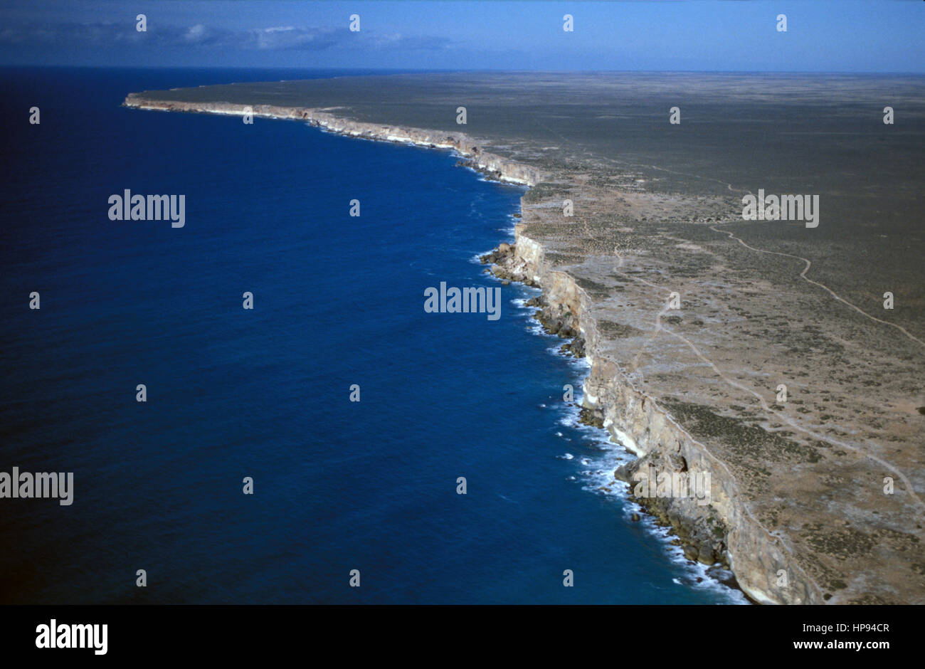 View over the cliffs of the Great Australian Bight Stock Photo