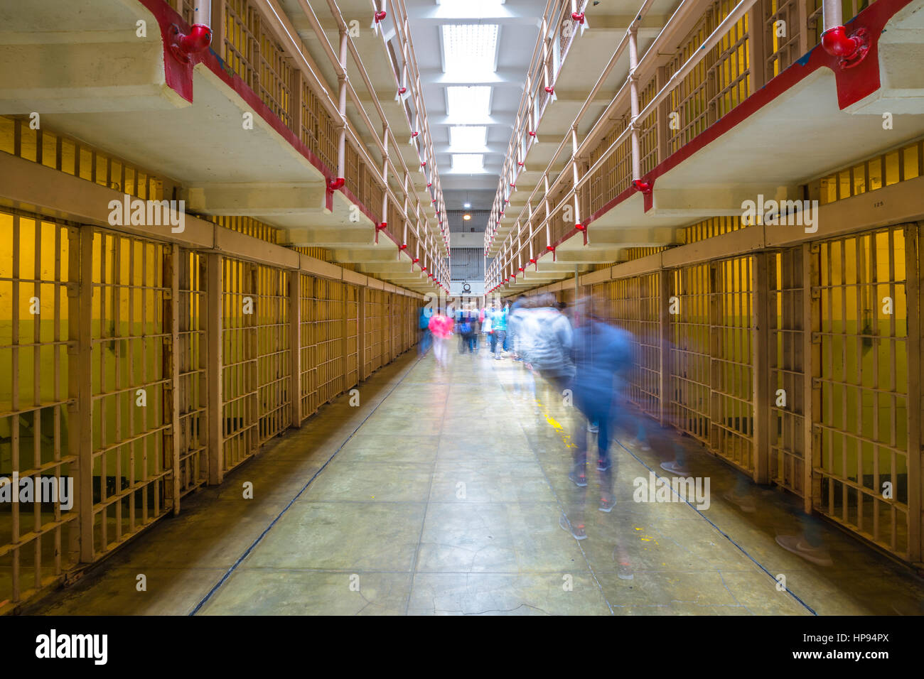 San Francisco, California, United States - August 14, 2016: tourists visiting Alcatraz prison and the main corridor - Stock Image