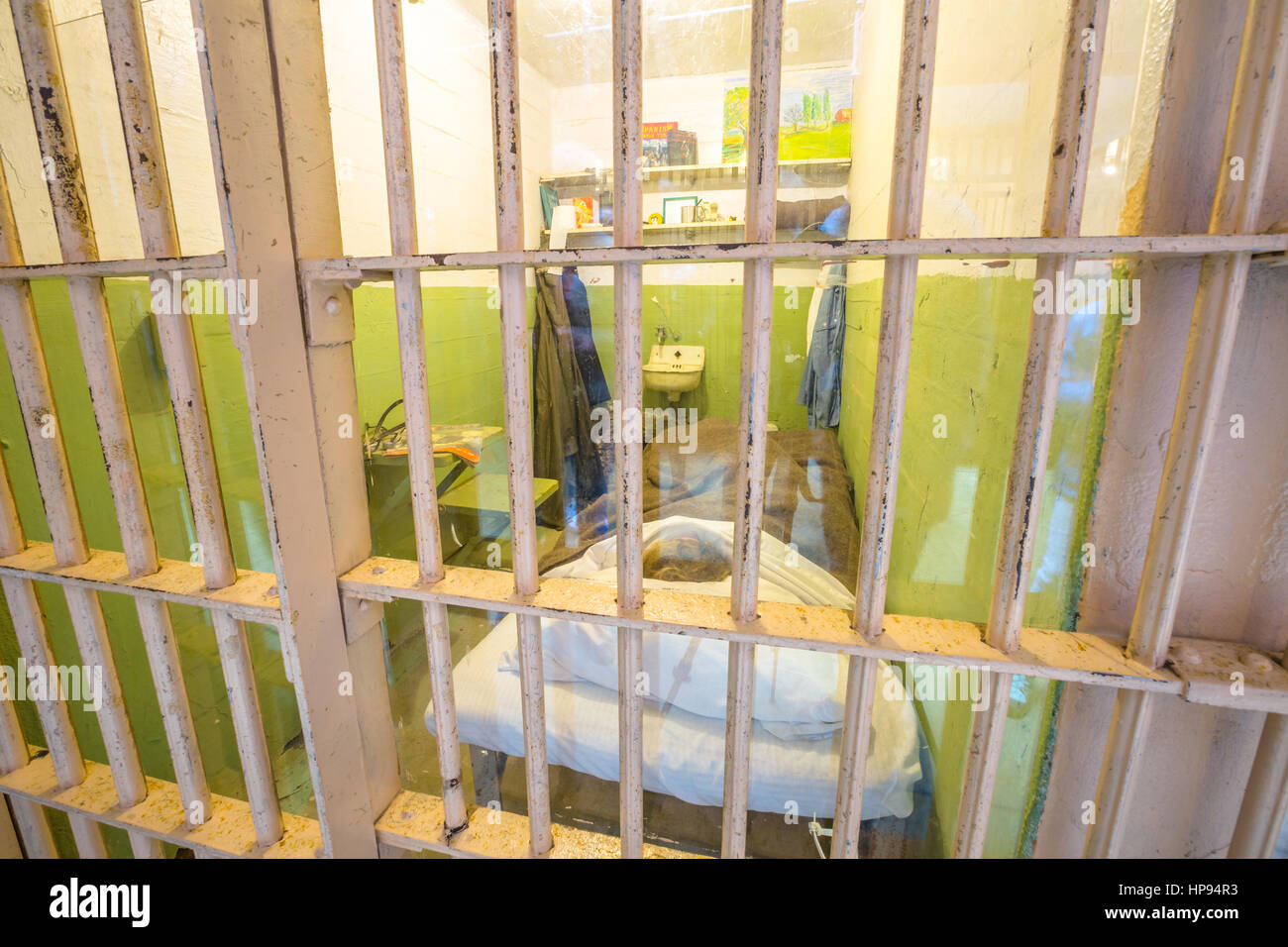 San Francisco, California, United States - August 14, 2016: detail inside Alcatraz famous cell of character painter - Stock Image