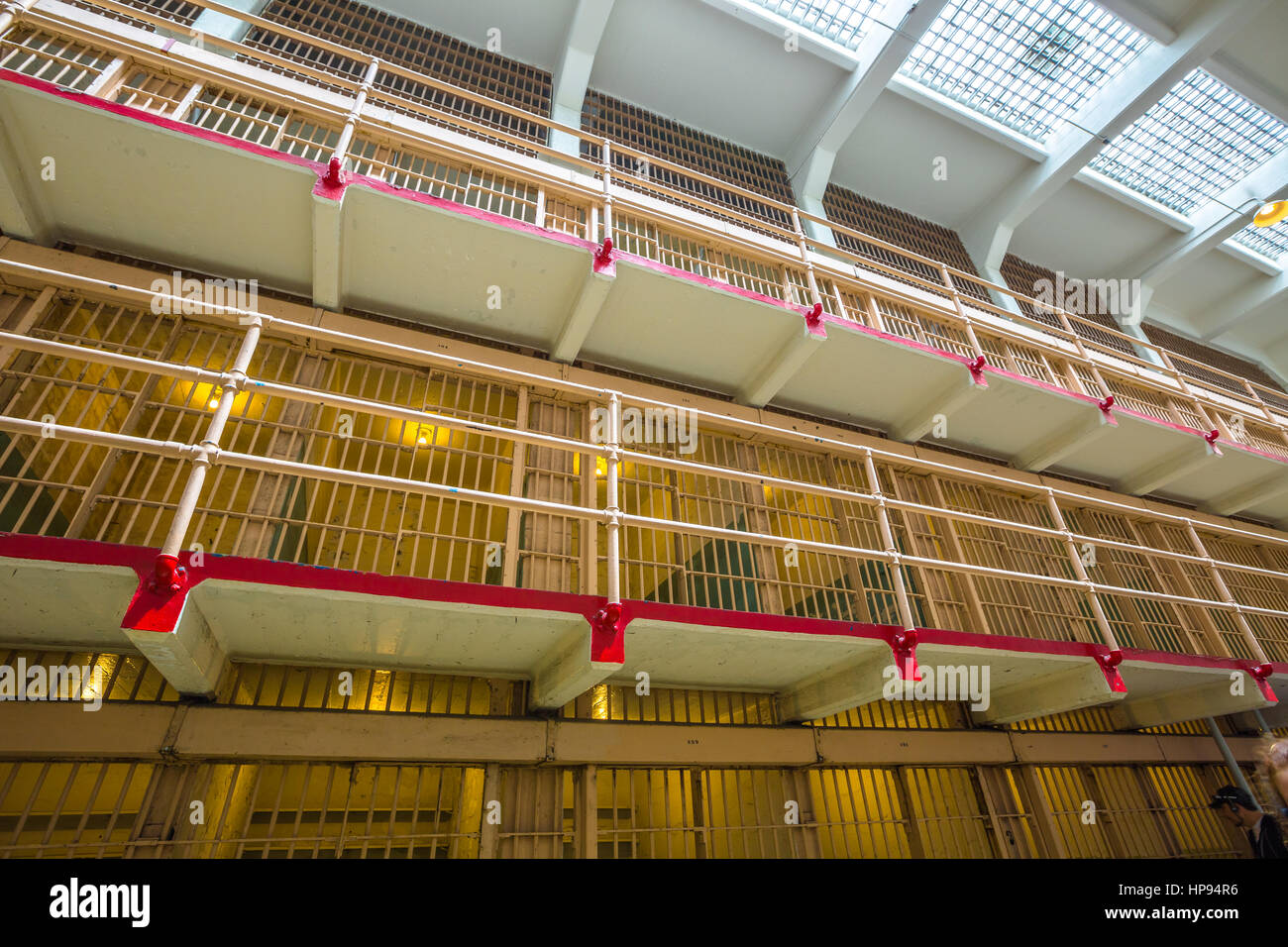 San Francisco, California, United States - August 14, 2016: Alcatraz main cells on three levels. All the cells are - Stock Image