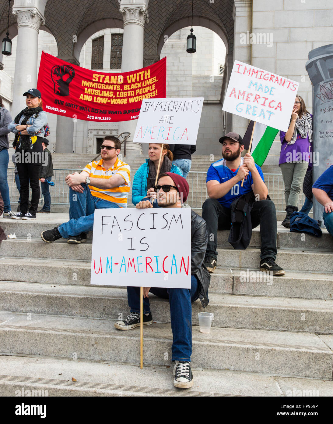 Immigrant rights protest at City Hall, Los Angeles, California. - Stock Image