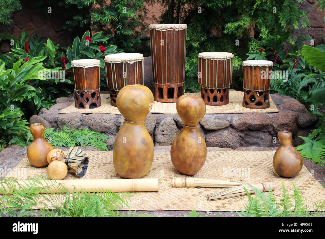 Hawaiian musical instruments - Stock Image