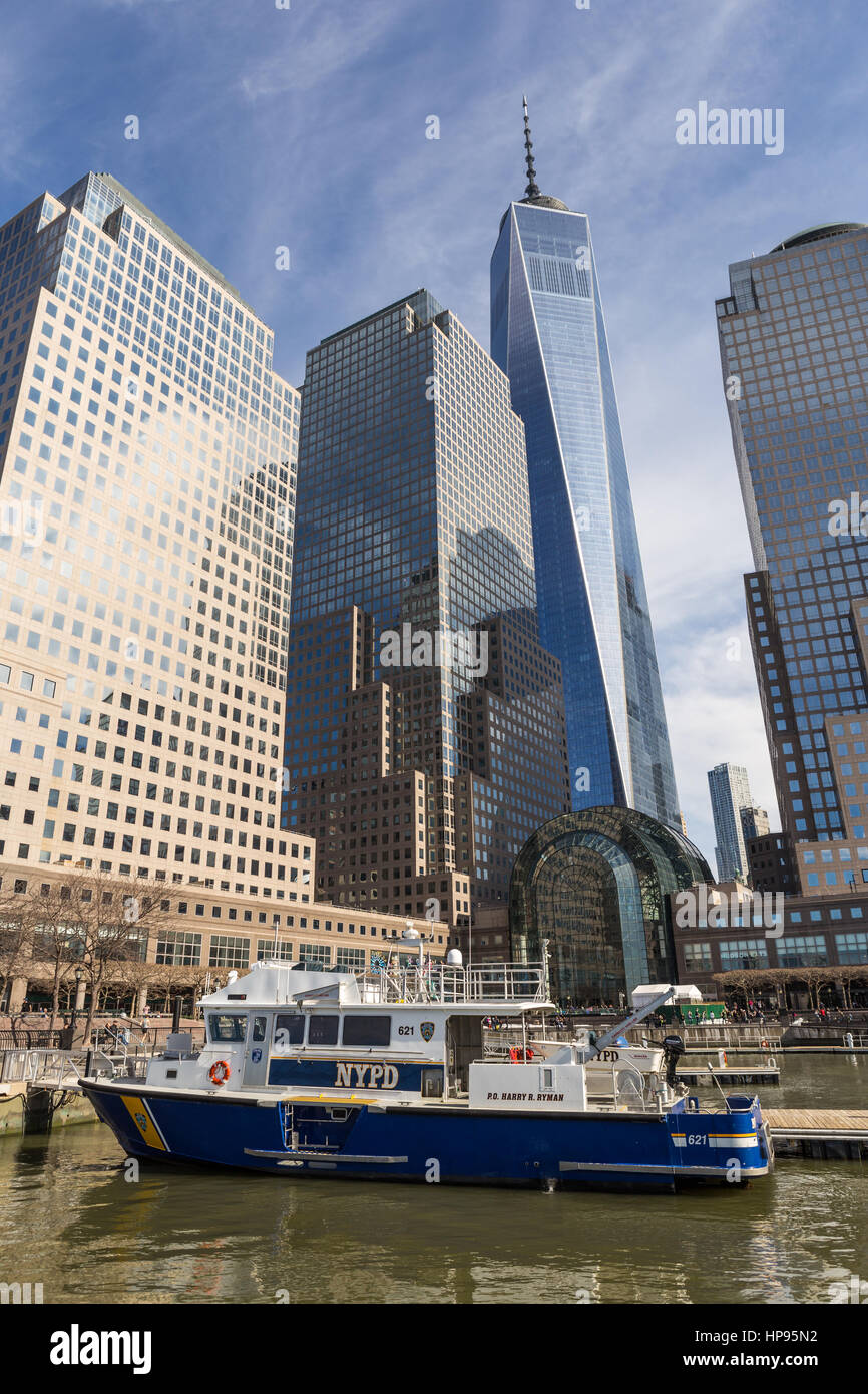 NYPD harbor patrol boat 'P.O. Harry R. Ryman' anchored at the North Cove Marina at Brookfield Place in New - Stock Image