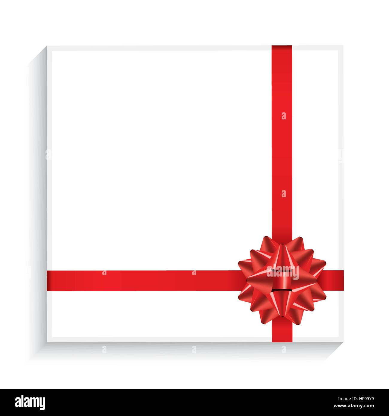 Gift Box with Red Bow, Ribbon and Copy Space. Top View. Vector Illustration. - Stock Vector