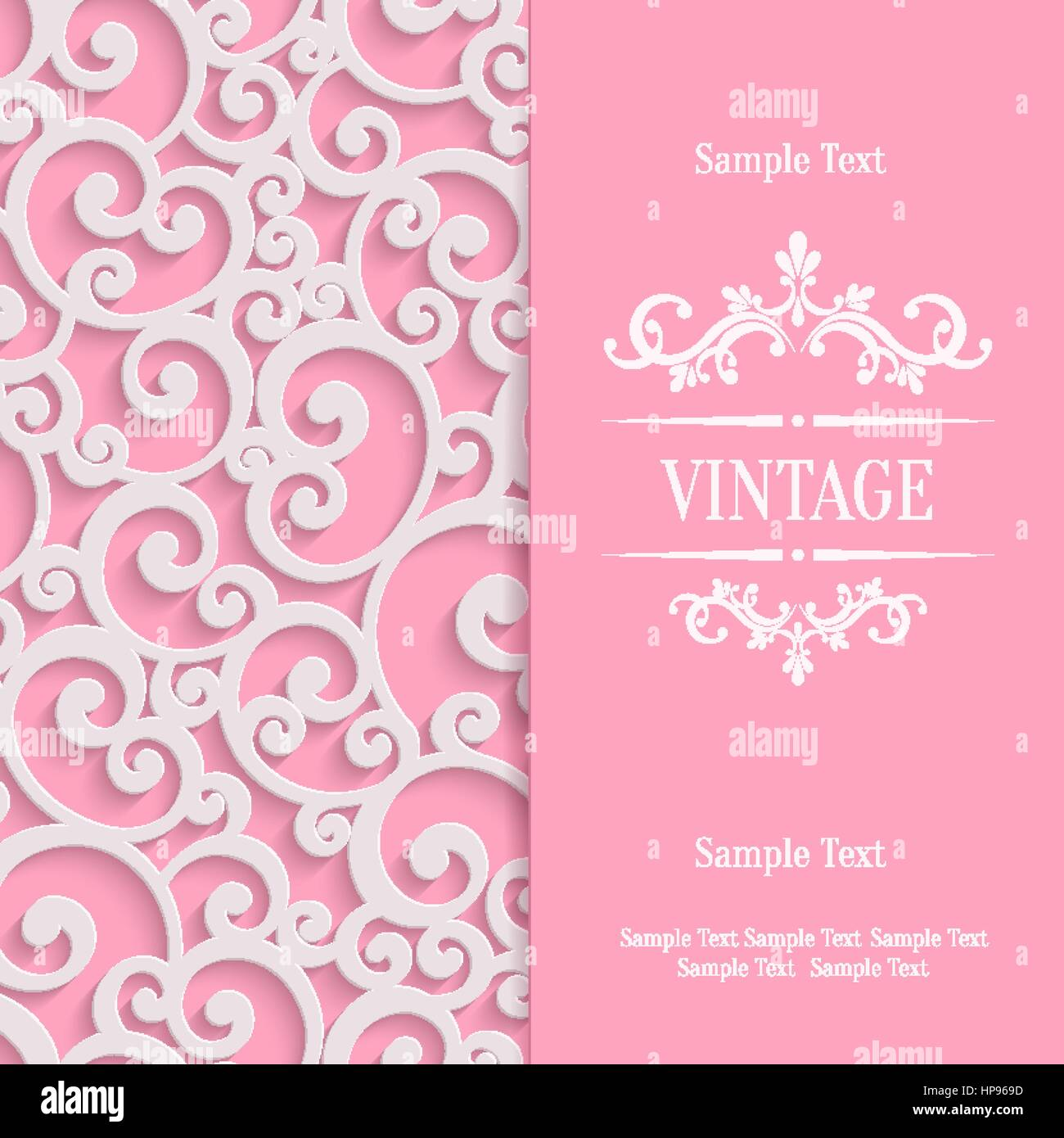 Pink 3d swirl valentines day card with floral curl pattern stock pink 3d swirl valentines day card with floral curl pattern invitation vector template background stopboris Image collections