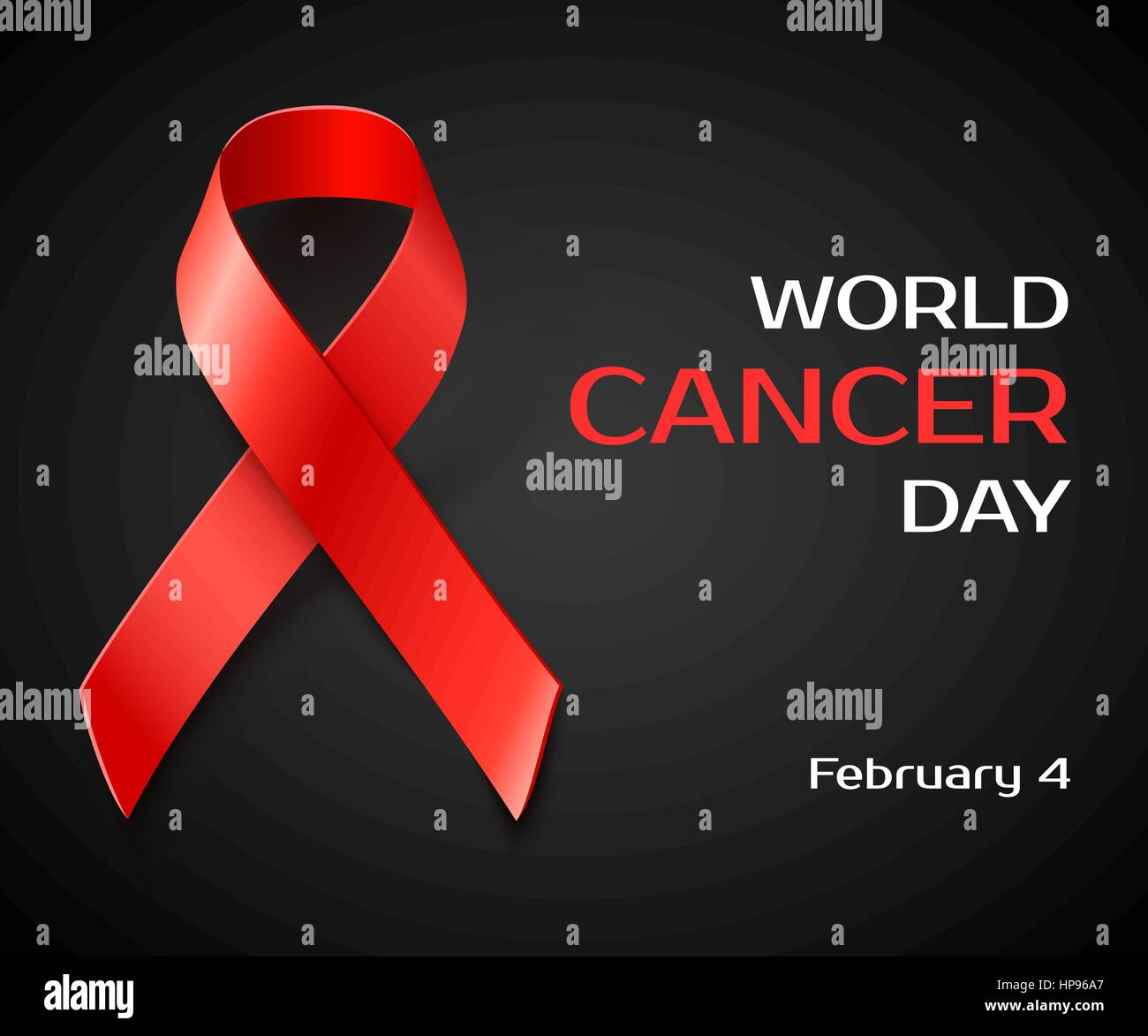 6e3a2affed3 Awareness World Cancer Day concept , black background with red ribbon,  vector illustration