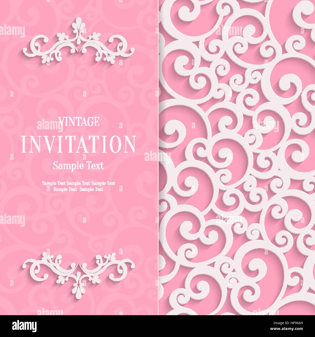 Floral curl pink background with 3d swirl damask pattern for wedding floral curl pink background with 3d swirl damask pattern for wedding or valentines invitation card vector white vintage design stopboris Images