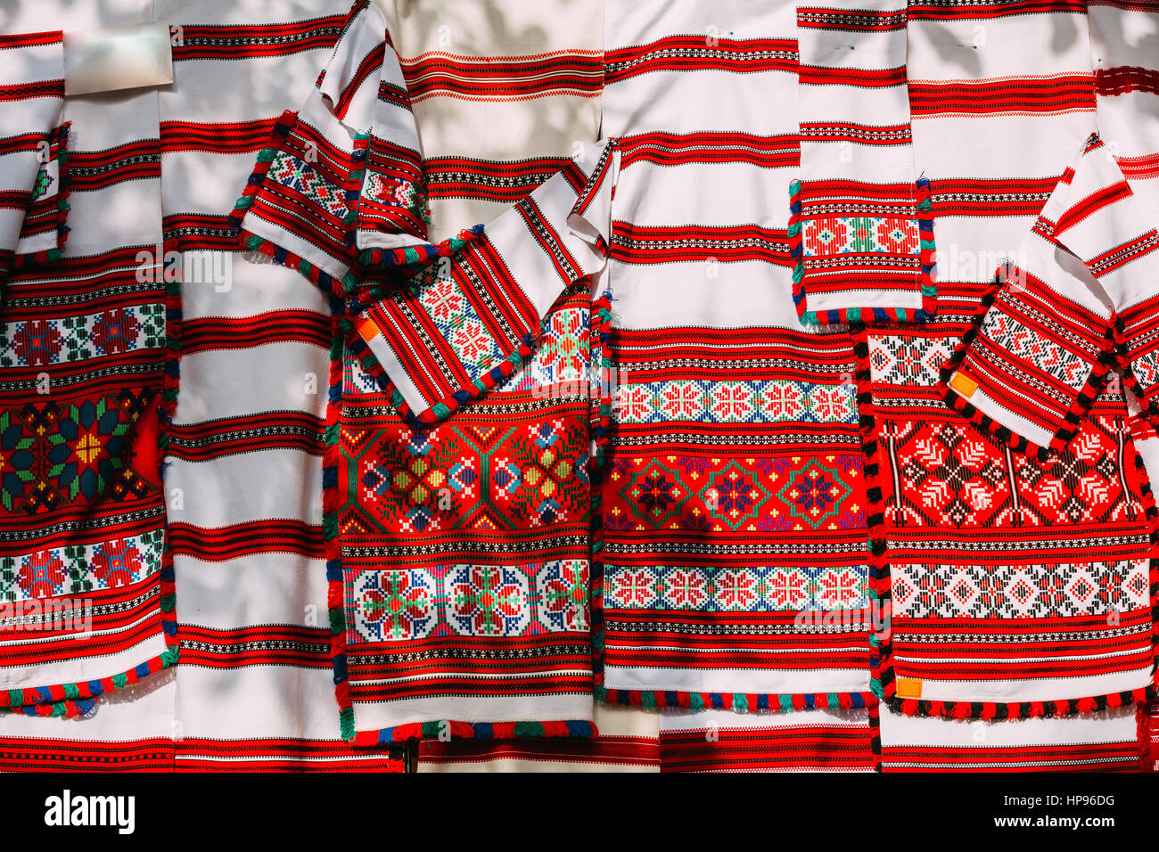 Belorussian ethnic national folks ornament on clothes. Slavic Traditional Pattern Ornament Embroidery. Culture of - Stock Image