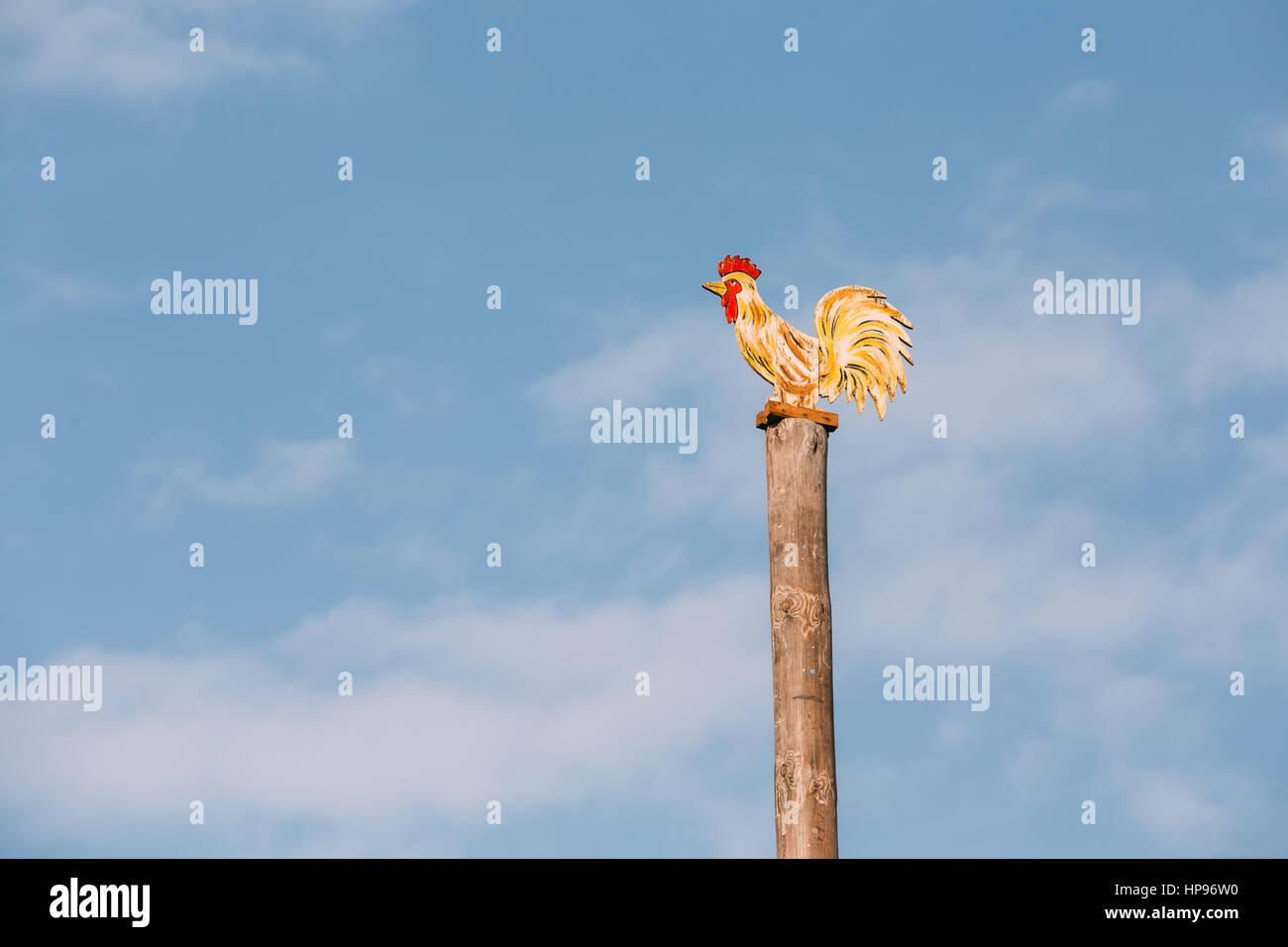 Festive Wooden Pole On Which People Climb Maslenitsa. Slavic Celebration Shrovetide Is Traditional Holiday Dedicated - Stock Image