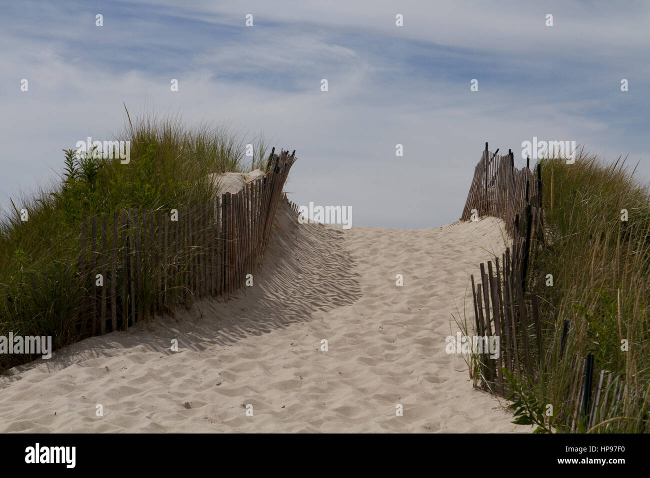 Path in the Dune on Rhode Island. - Stock Image