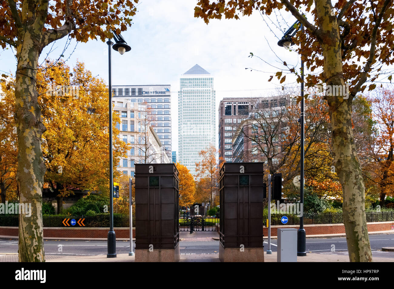 London, UK - November 19, 2016 - One Canada Square building in Canary Wharf seen from Westferry Circus - Stock Image