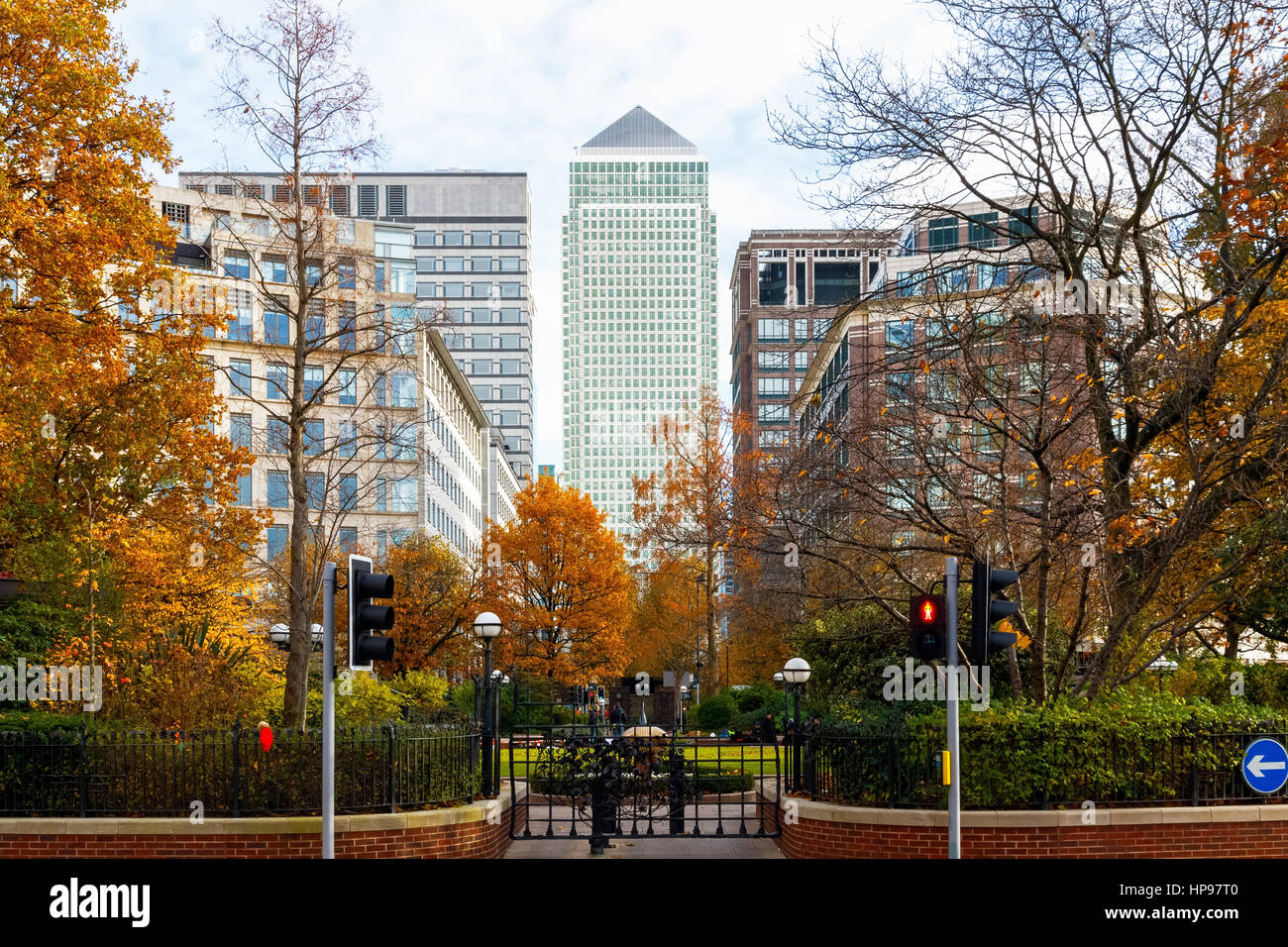 Canary Wharf in London seen from Westferry Circus - Stock Image