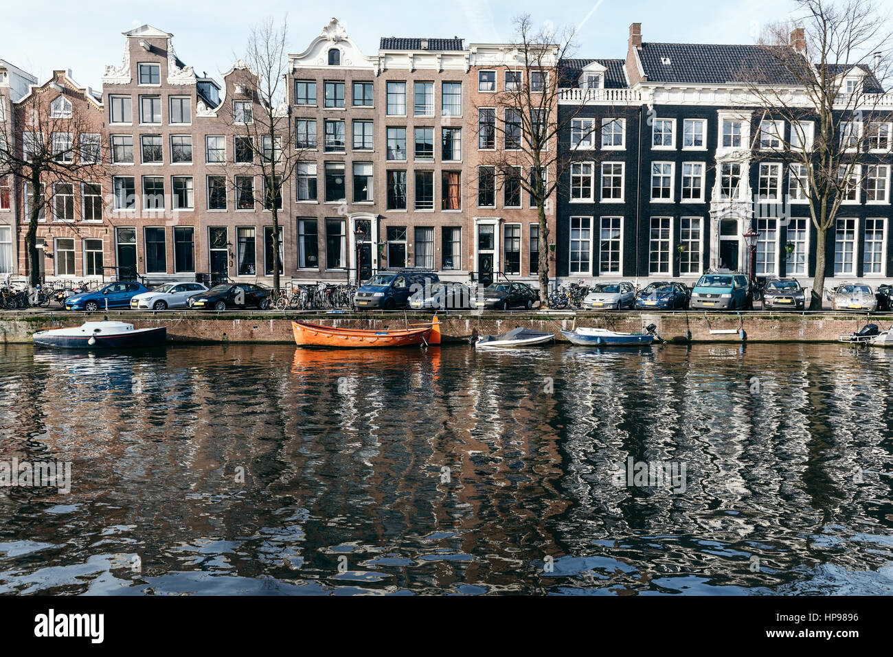 Amsterdam, has more than one hundred kilometers of canals, about 90 islands and 1,500 bridges. The three main canals, - Stock Image