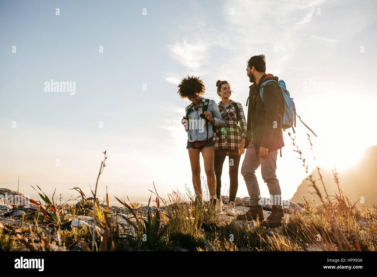 Group of people hiking in nature on a summer day. Three young friends on a country walk. - Stock Image