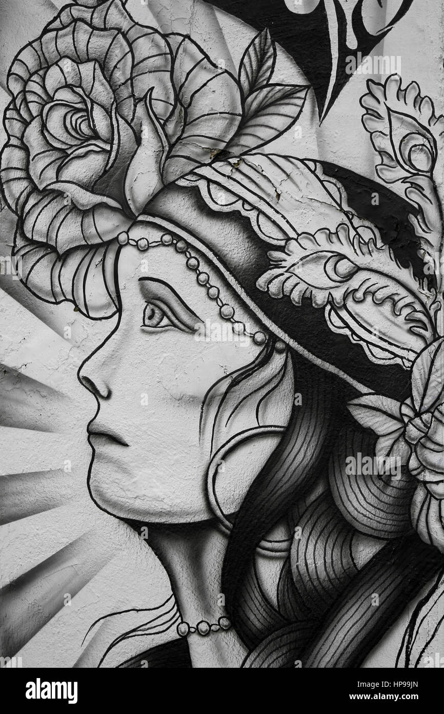 Black & White Illustration of Gypsy Fortune Teller and Rose At Tattoo Parlour, Fleetwood, UK - Stock Image