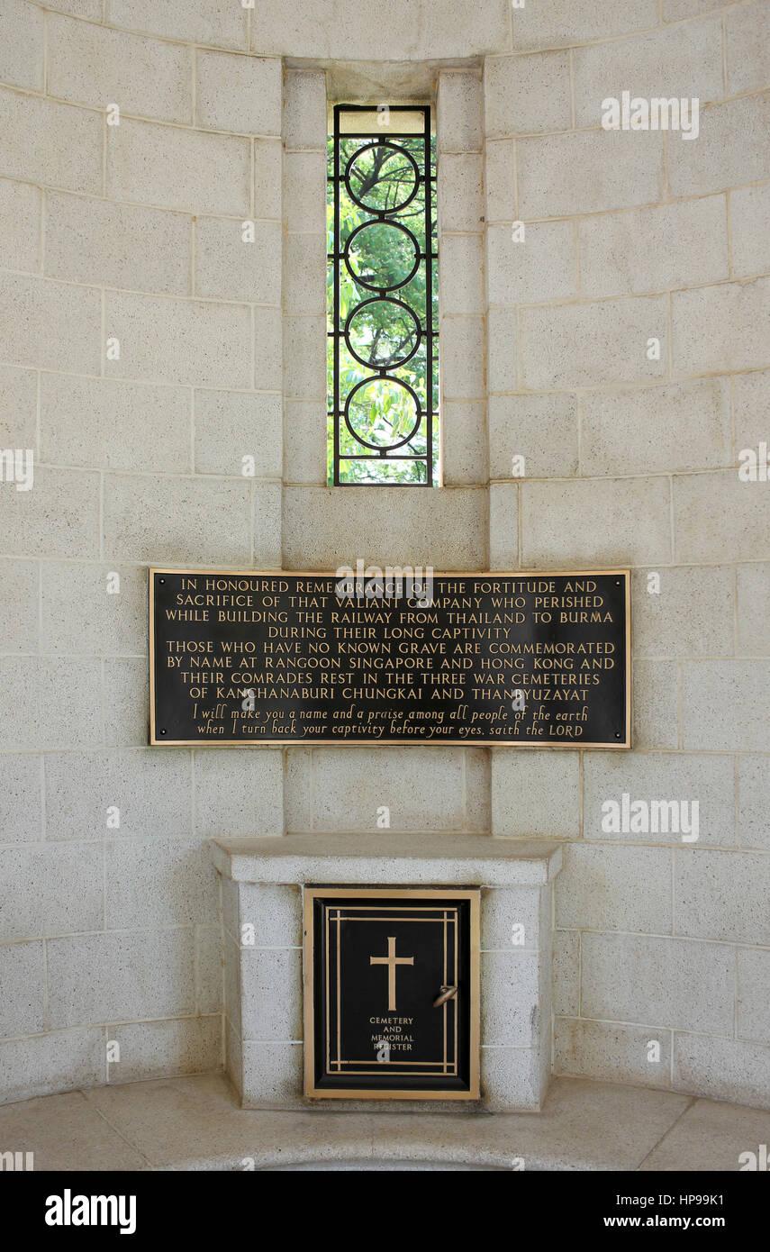 Kanchanaburi War Memorial, Thailand - Stock Image