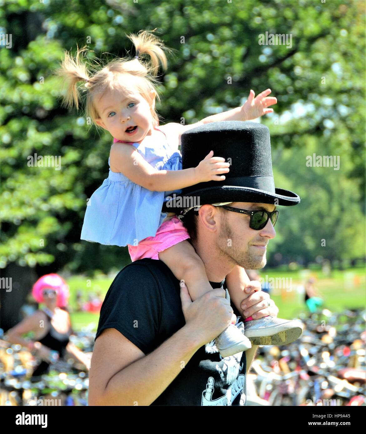 Father and Baby Daughter Having Fun Together - Stock Image