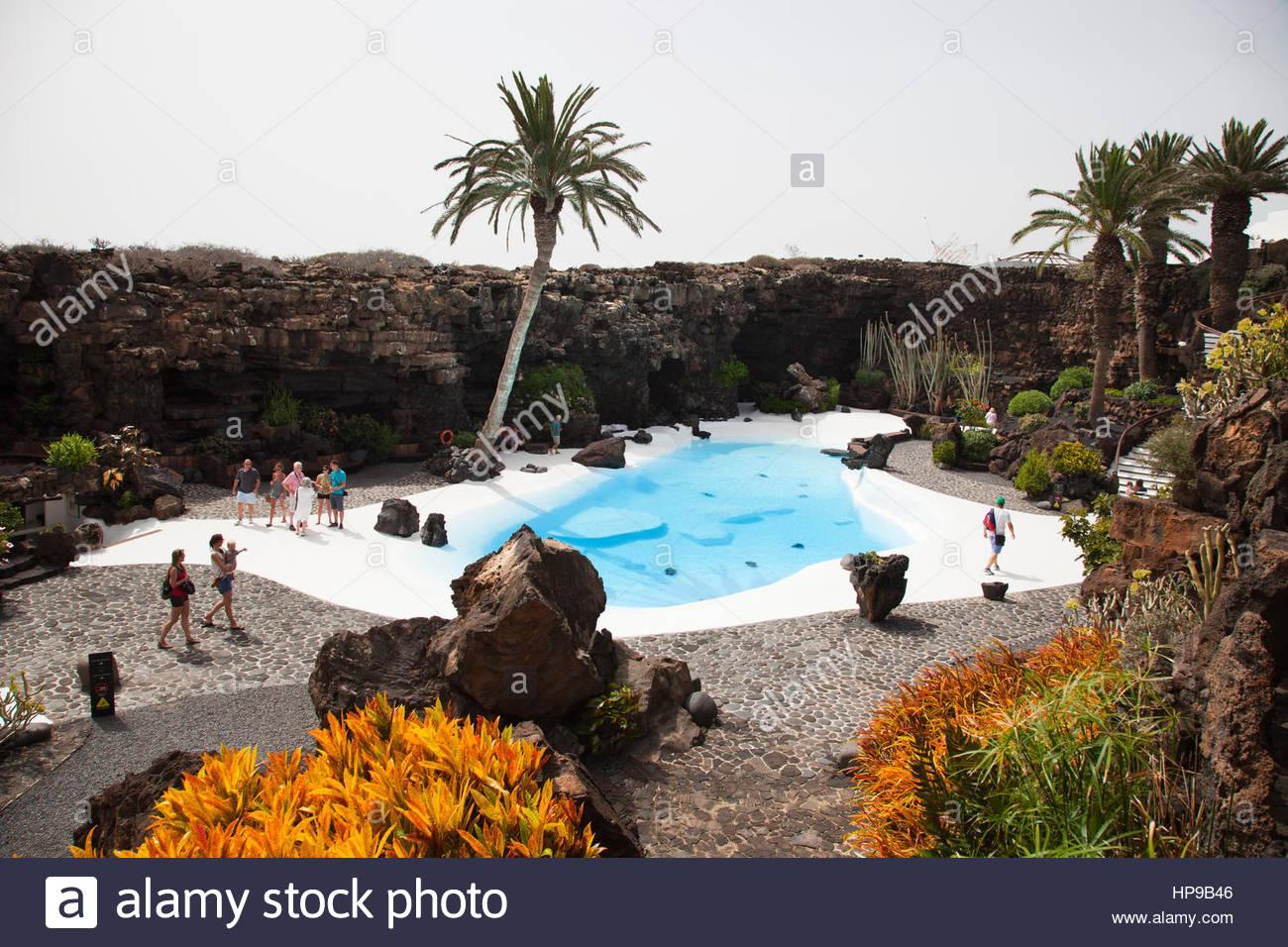 Jameo del Agua by artist Cesar Manrique,Malpais de la Corona area,Lanzarote,Canary,Spain - Stock Image