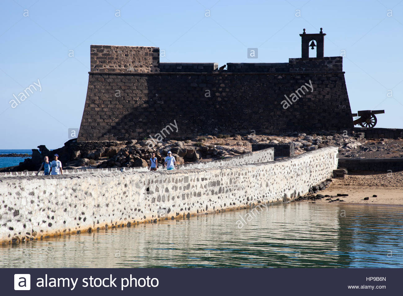 Castillo de San Gabriel and Puente de las Bolas,promenade Arrecife town,Lanzarote,Canary,Spain Stock Photo