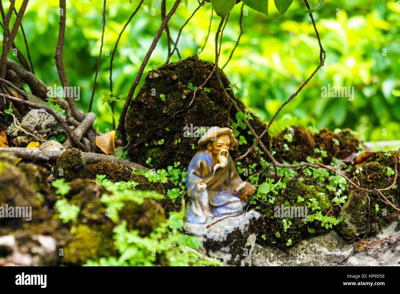 Green Bonsai Tree In Garden Statue Of A Monk Old Figurine Stock Photo Alamy