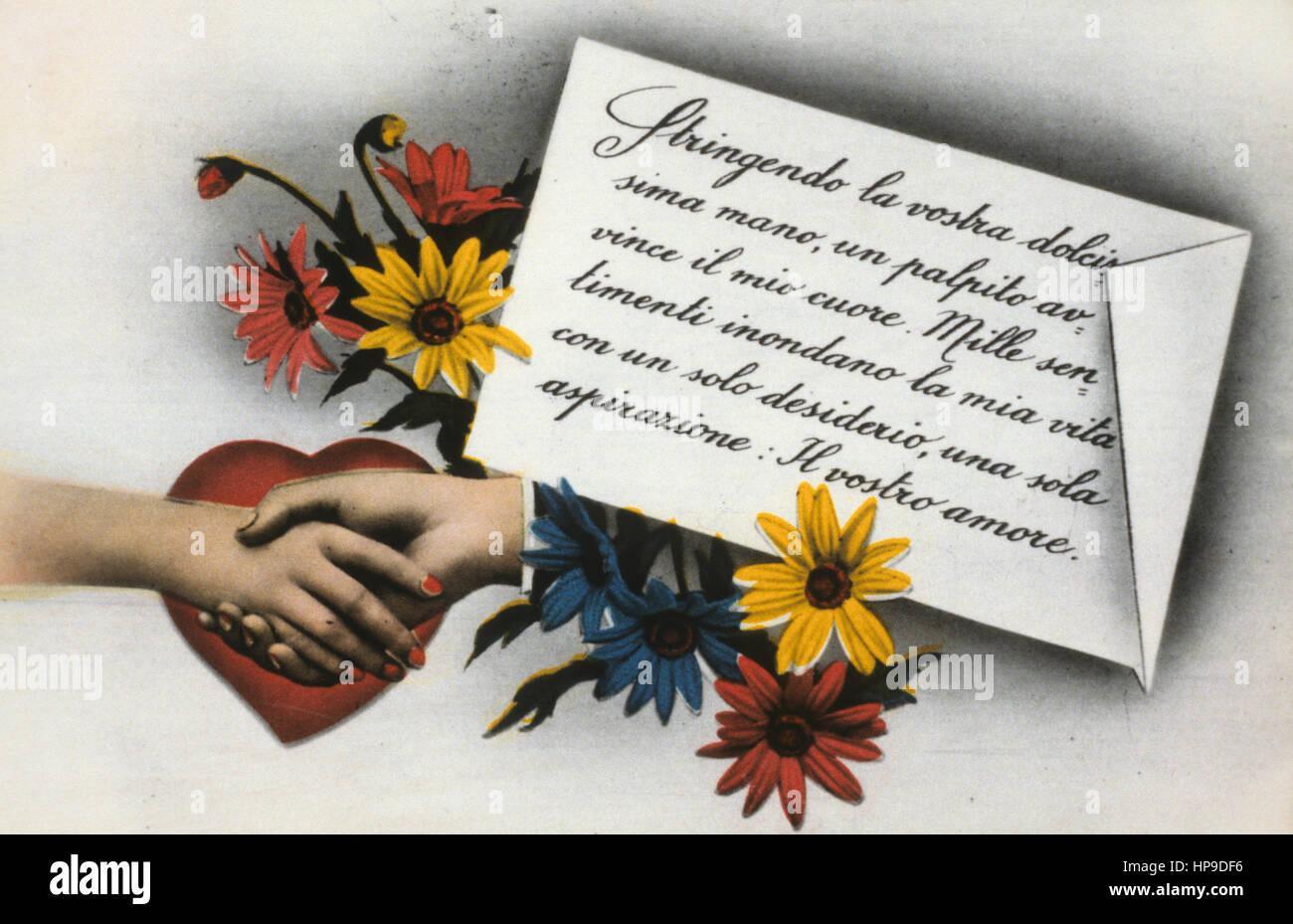 romantic postcard - Stock Image