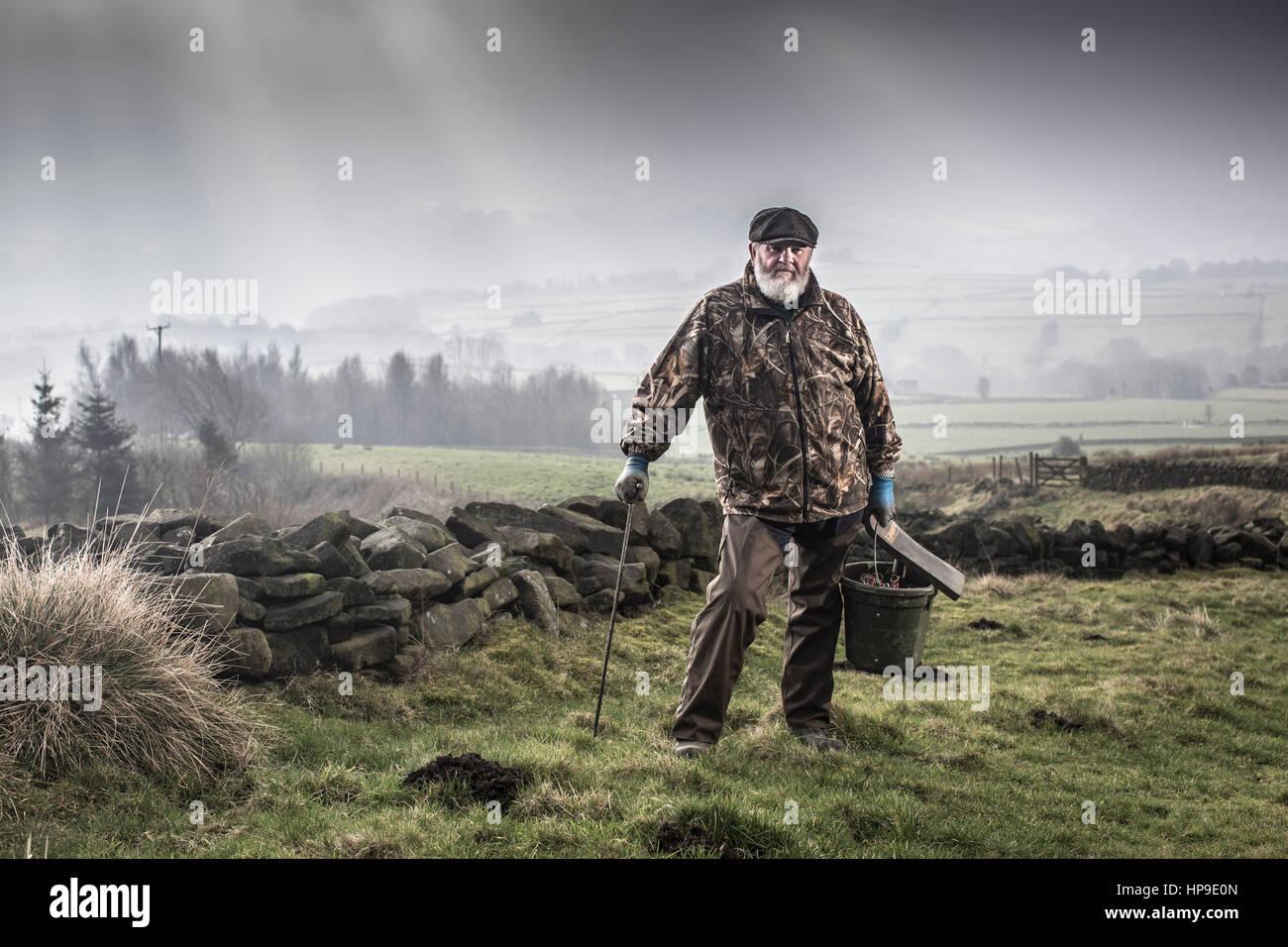 14/02/17 Calderdale , Yorkshire - Albert Morton , Professional Molecatcher -Calderdale , West Yorkshire - Stock Image
