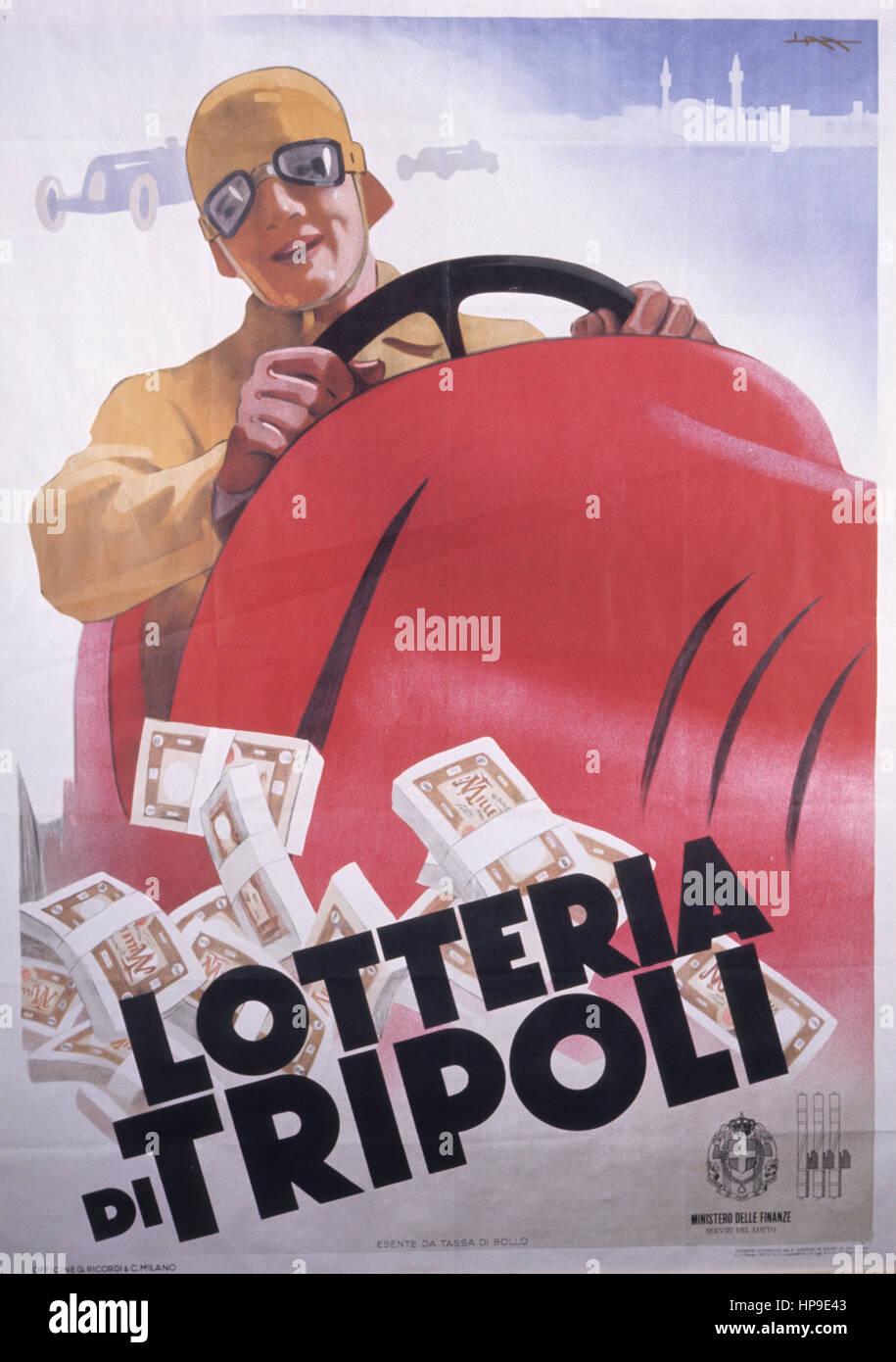 lottery tripoli,poster,1940 - Stock Image