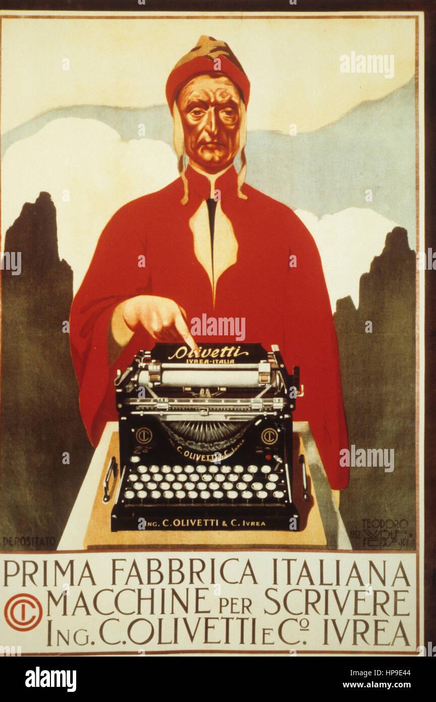 Olivetti,typewriters,advertising,early '900 - Stock Image
