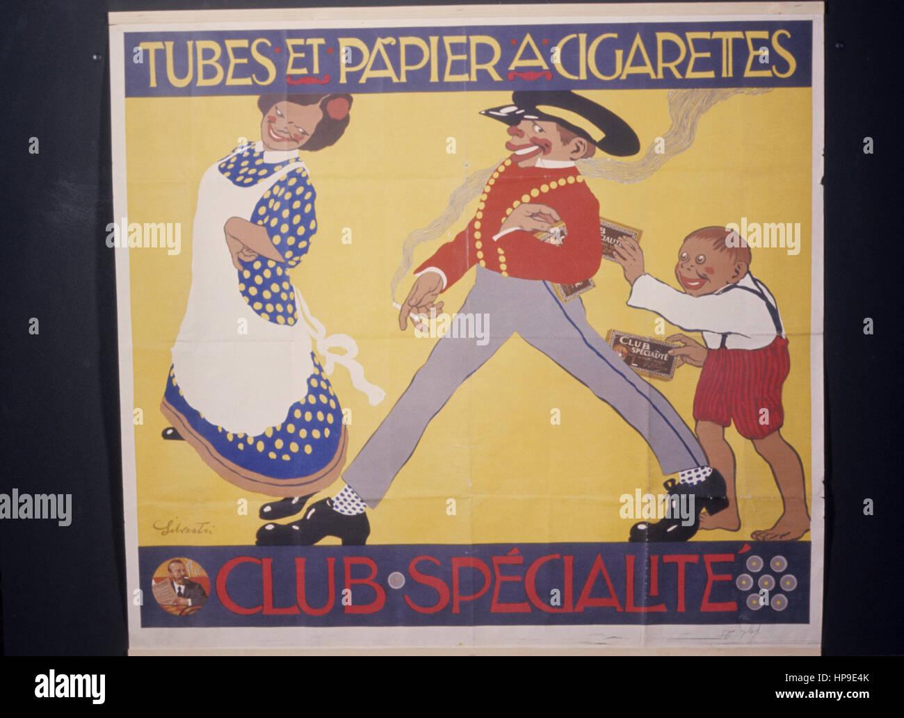 tubes et papier a cigarettes,advertising '900 - Stock Image