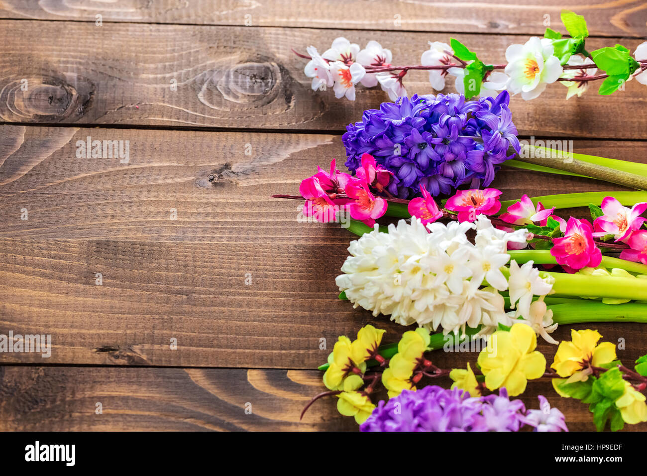 Fresh hyacinth flowers on wooden background beautiful idea for fresh hyacinth flowers on wooden background beautiful idea for greeting cards for valentines day march 8 and mothers day free space izmirmasajfo