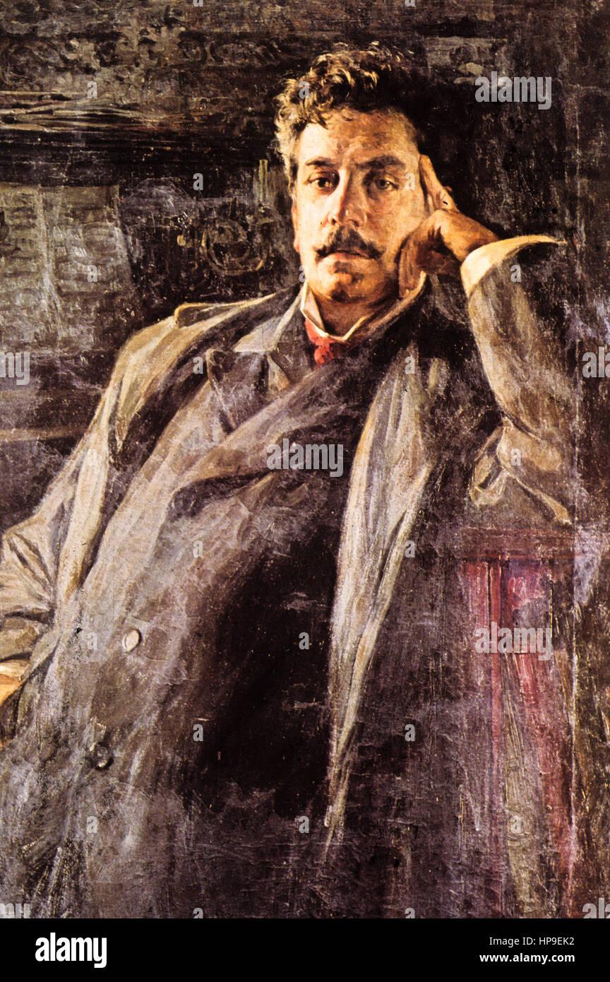 Reproduction of the portrait of Giacomo Puccini made by luigi de servi,'900 - Stock Image