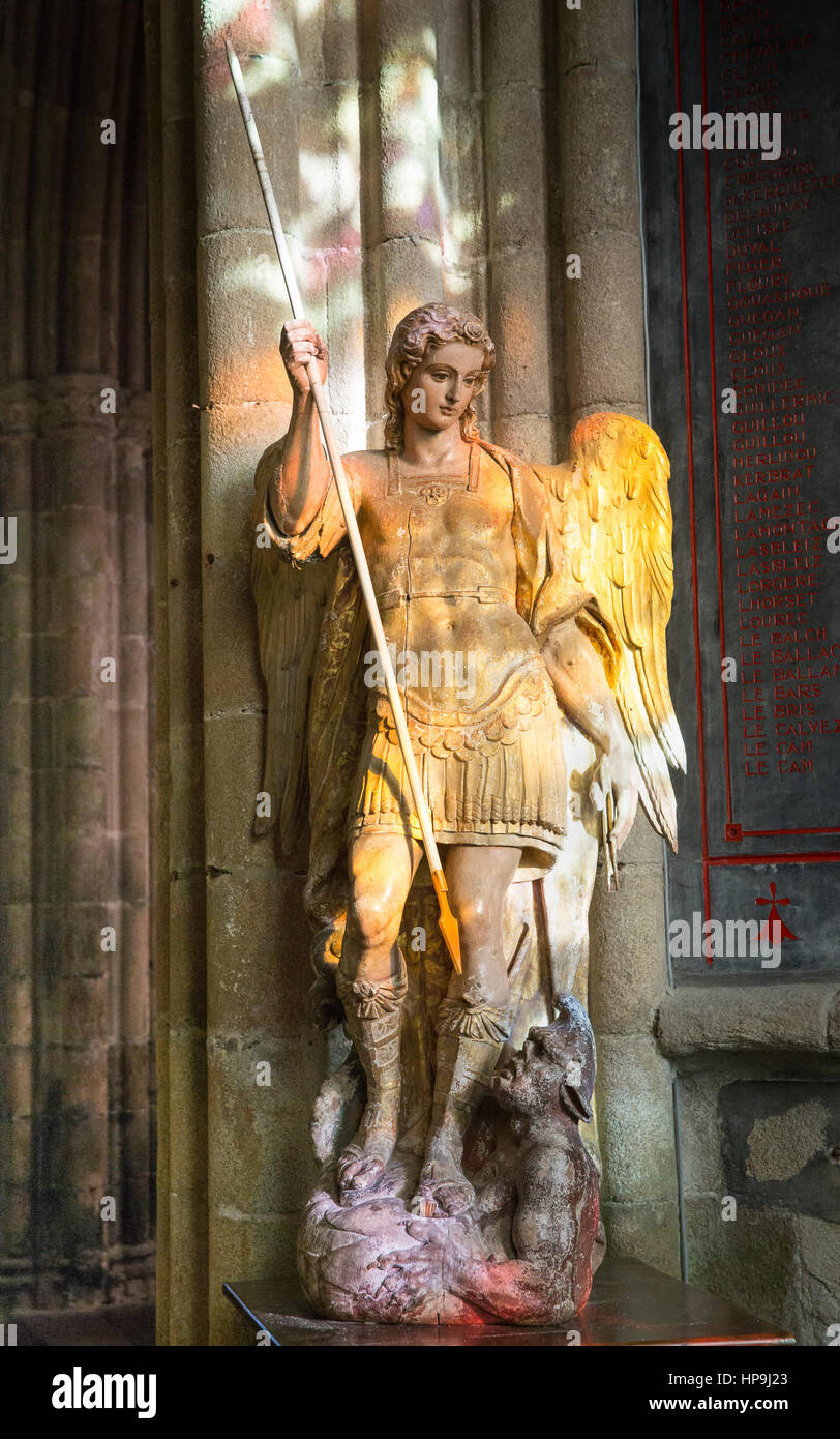 Sculpture of Saint Michael in the St. Tugdual Cathedral, Treguier, France - Stock Image