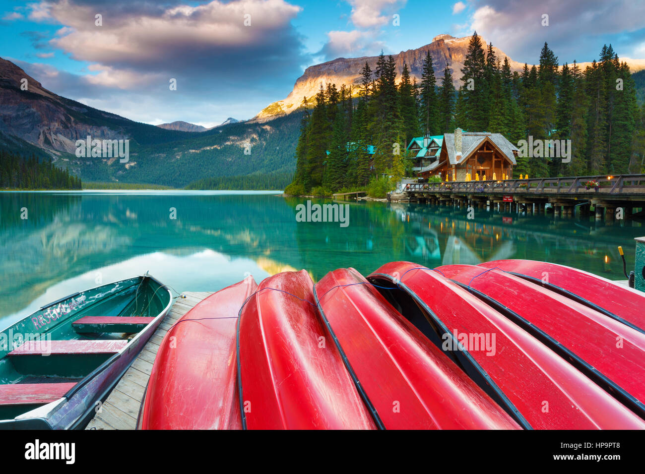 Early evening at Emerald Lake in Yoho National Park, British Columbia, Canada. Emerald Lake is a major tourism destination - Stock Image