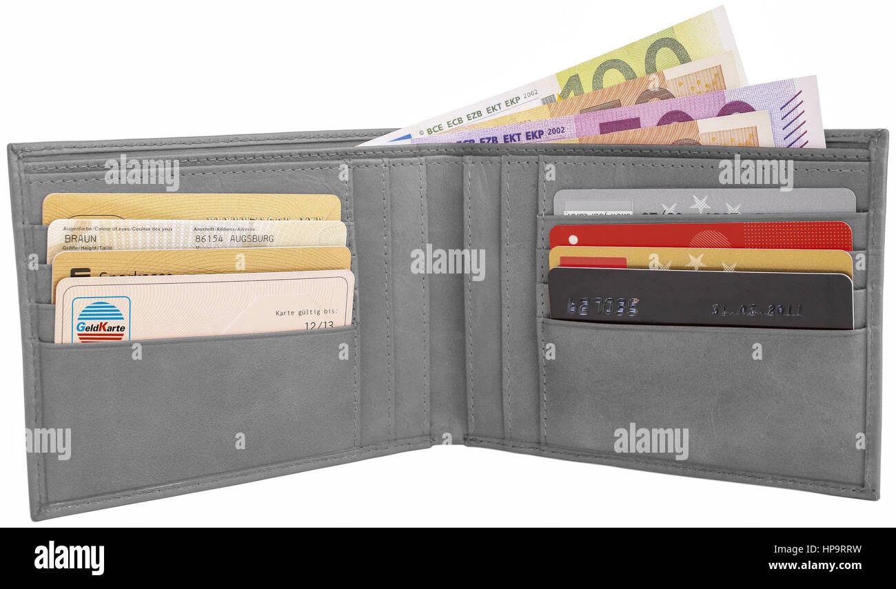 Offene, graue Gelboerse mit Scheinen und Karten - Stock Image