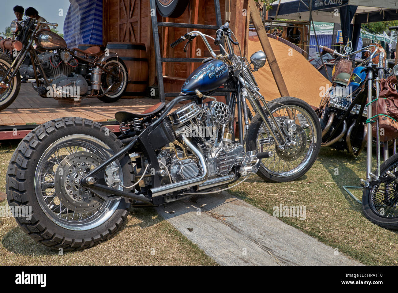 Harley Davidson modified and customised chopper motorcycle - Stock Image