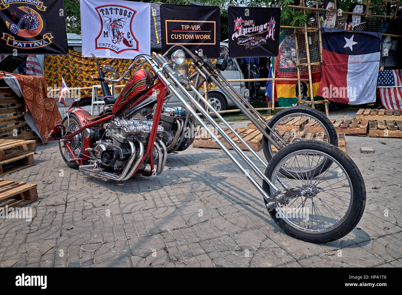 Harley Davidson modified and customised low rider chopper motorcycle - Stock Image