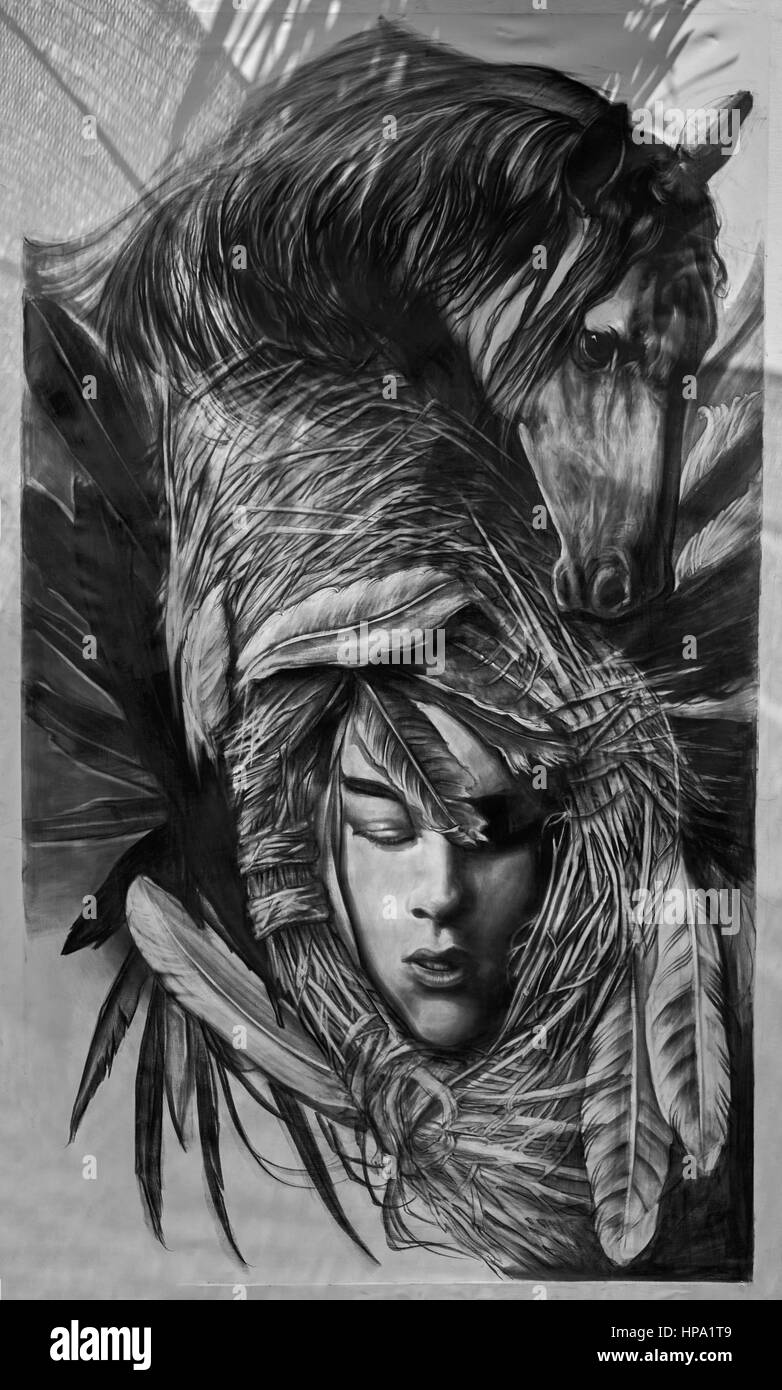 Black and white photography painting of a female native american indian and horse