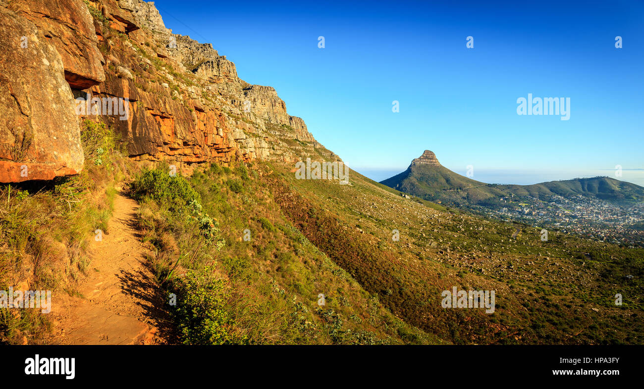 Panoramic view from Platteklip Gorge trail at Table Mountain in Cape Town, South Africa - Stock Image