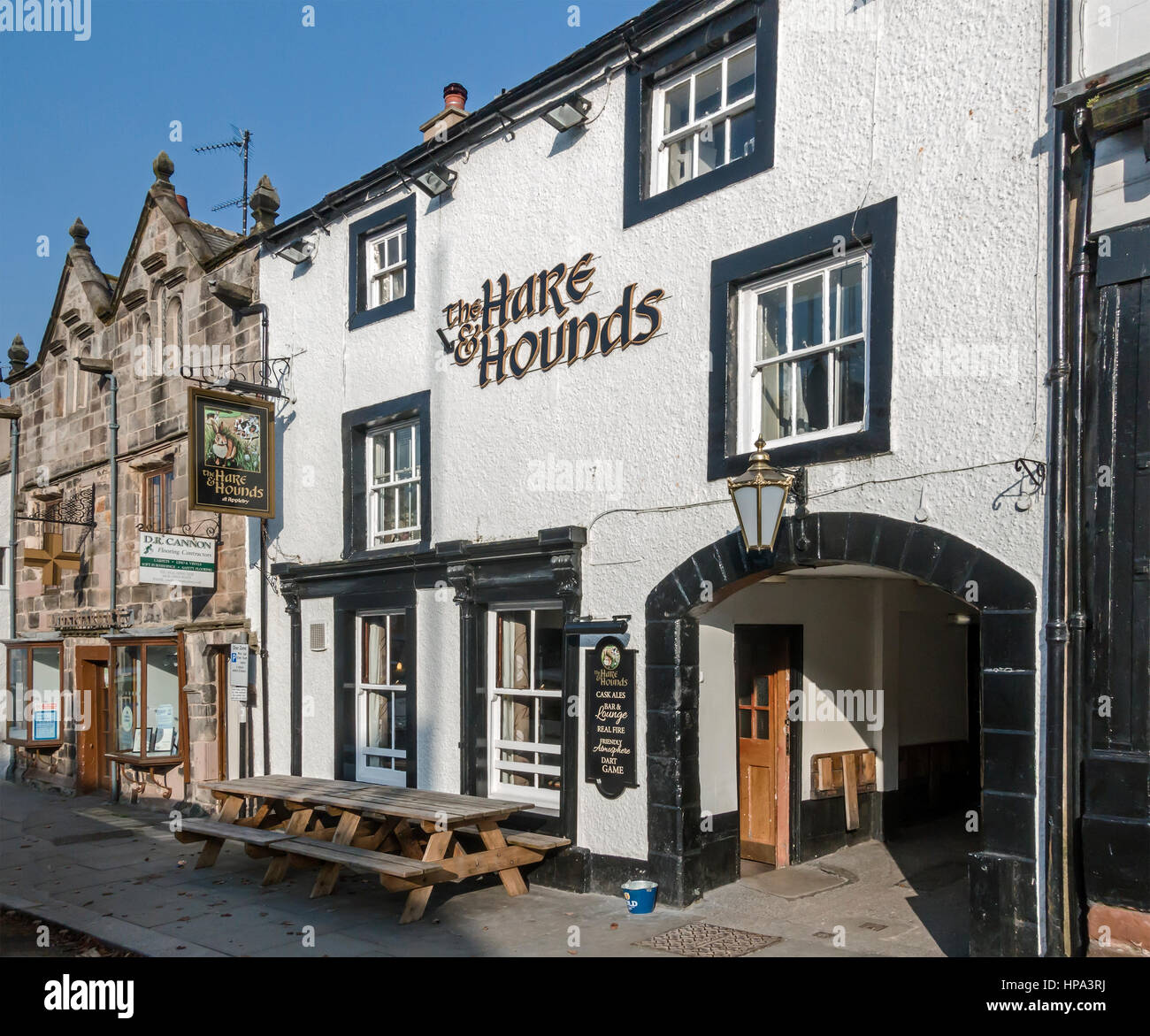 The Hare & Hounds pub in the main street of Appleby-in-Westmorland Cumbria England UK - Stock Image