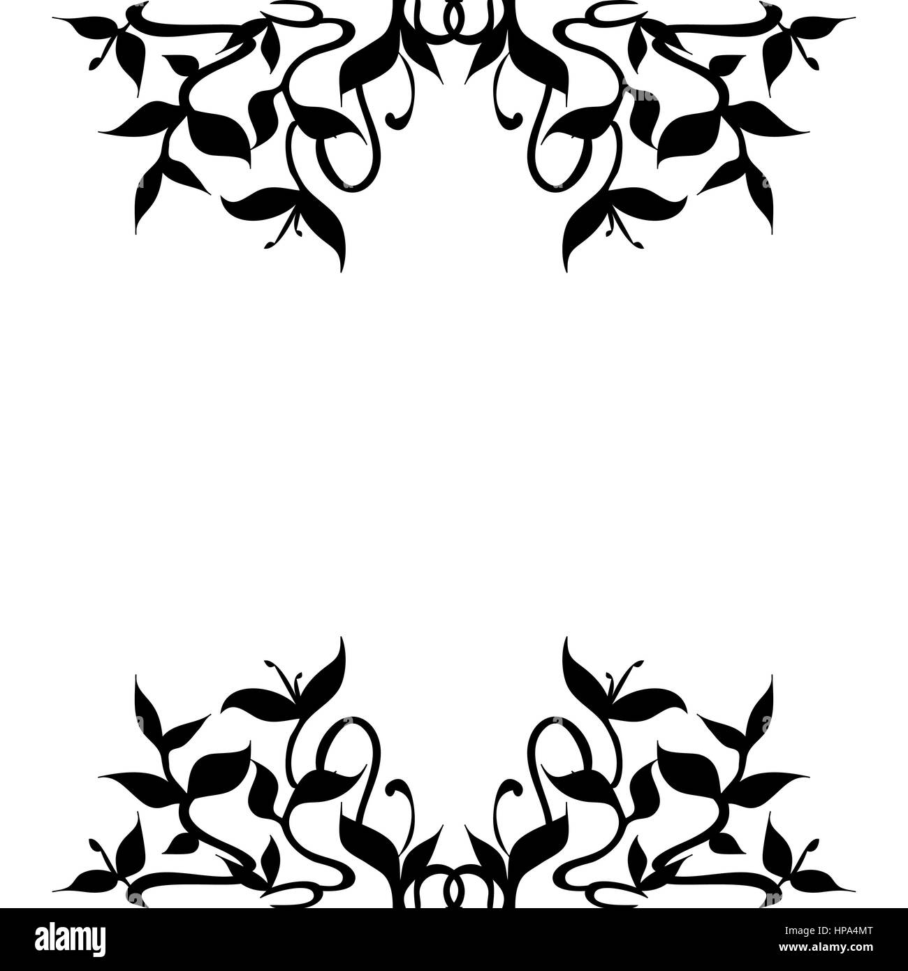 Illustration of stylized plant sprouts to decorate frame borders; flourishing curved leaves and stems pattern. Isolated - Stock Image