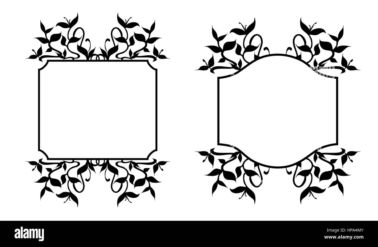 Floral frames and labels with black silhouettes of plant sprouts, growing stems and flourishing curved leaves - - Stock Image