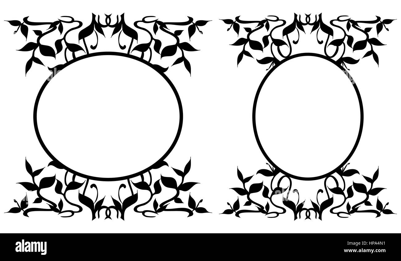 Set of two oval frames adorned with the black silhouettes of plant sprouts, growing stems and flourishing curved - Stock Image