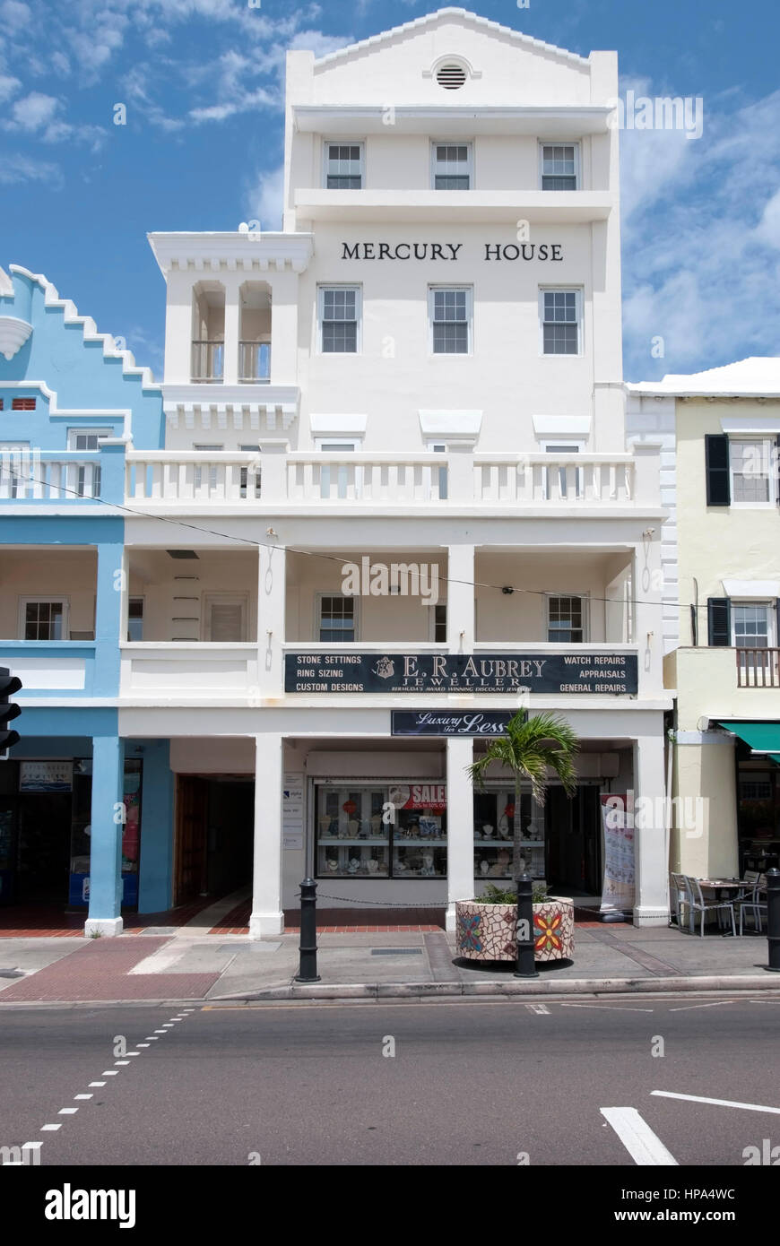 E.R. Aubrey Jeweller Shop Mercury House Front Street Hamilton Bermuda exterior view traditional Bermudian bright - Stock Image