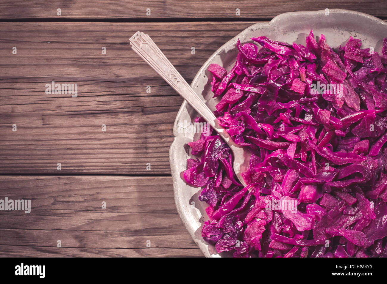 German red cabbage on plate cropped - Stock Image