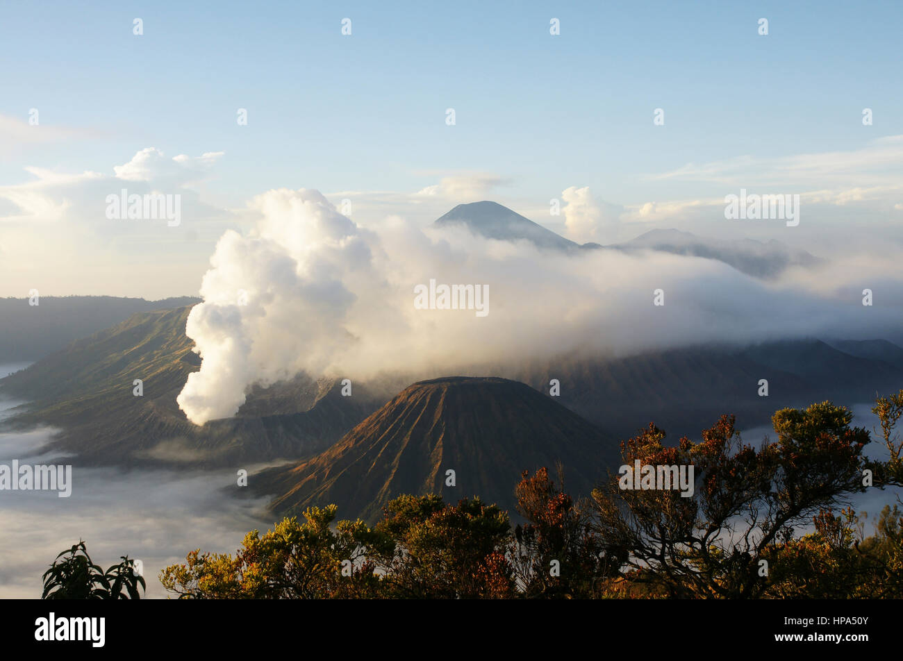 Mount Bromo, an active volcano and part of the Tengger Semeru National Park in East Java, Indonesia. - Stock Image