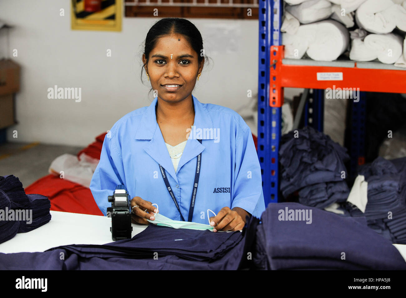 INDIA Tirupur , fair trade textile units , Assisi Garments produces organic and fairtrade garments for Export - - Stock Image