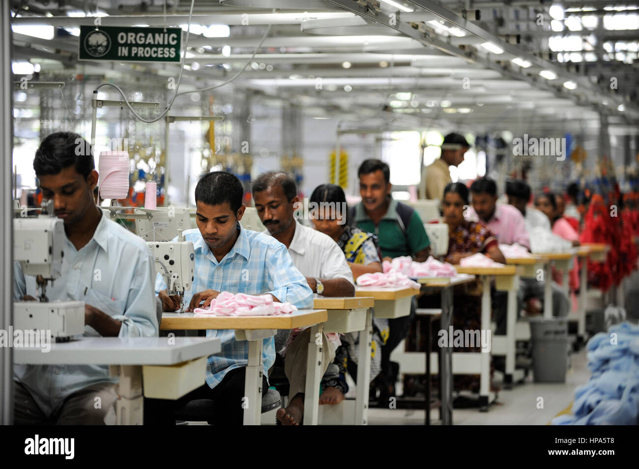 INDIA Tirupur , fair trade textile units , Century Apparels produces organic and fairtrade garments for Export  - Stock Image