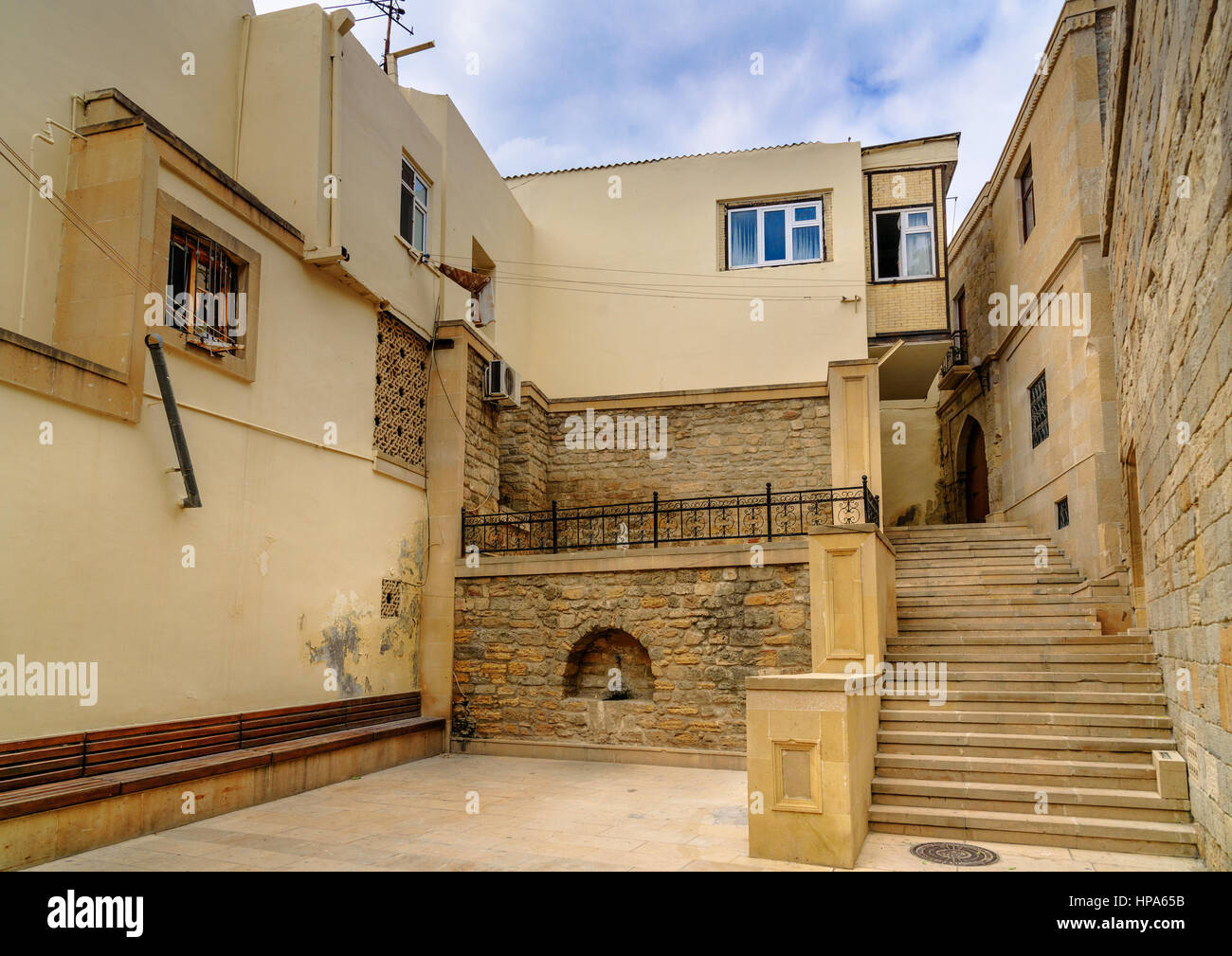 Street in Old city, Icheri Sheher is the historical core of Baku. Azerbaijan. World Heritage Site by UNESCO Stock Photo