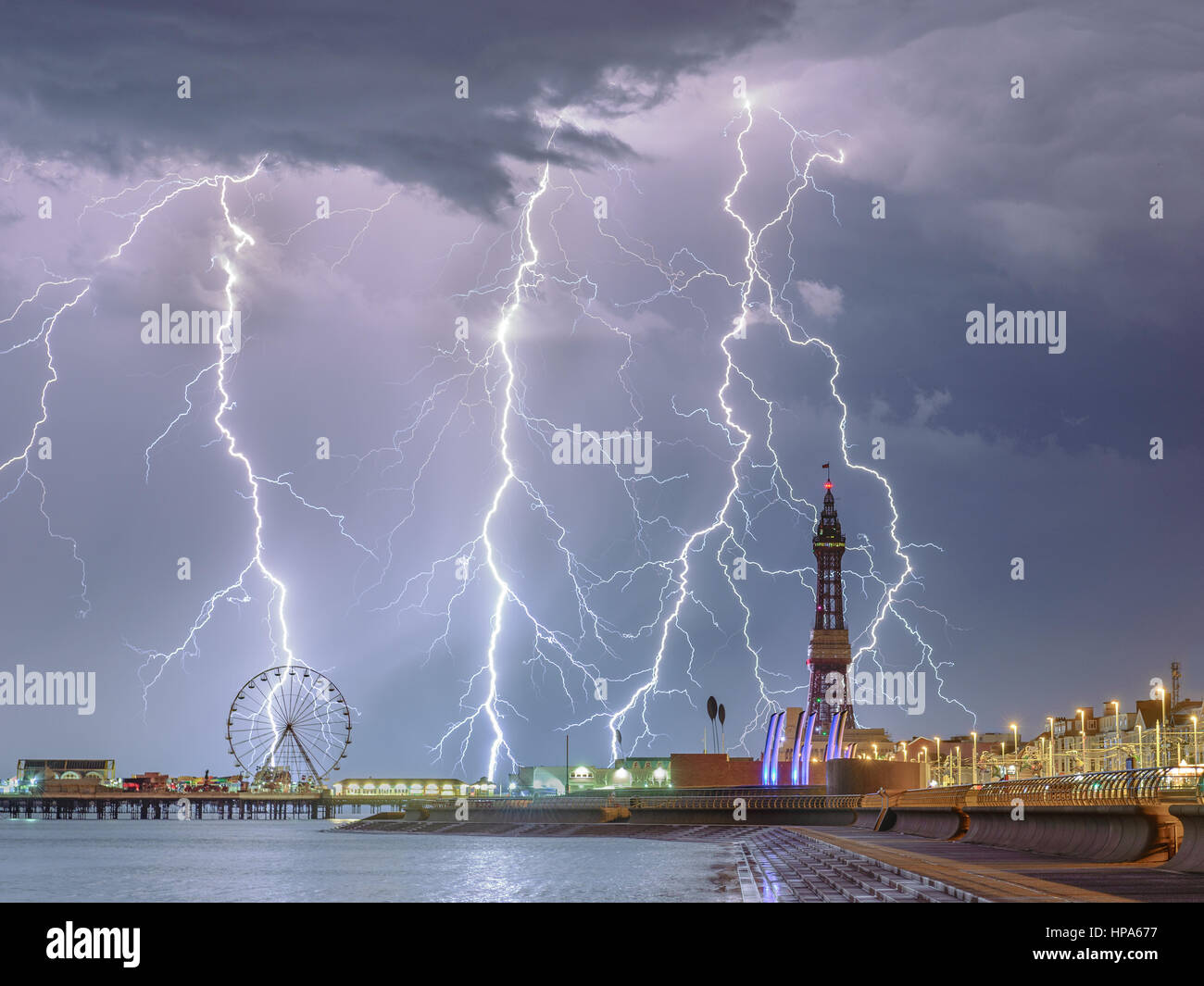 Lightning storm over Blackpool - Stock Image