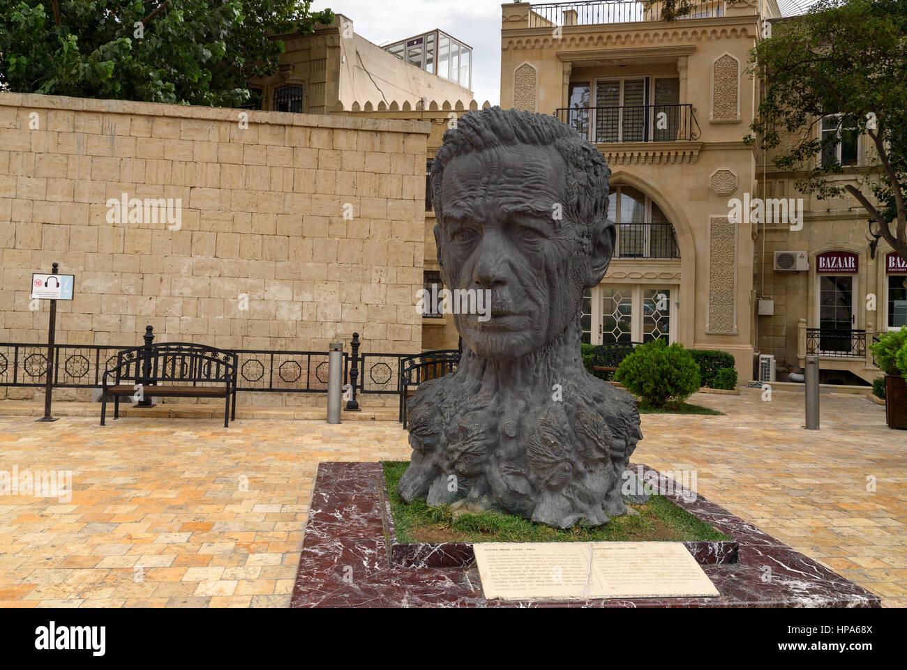 Baku, Azerbaijan - September 10, 2016: Monument to Azerbaijani poet Aliaga Vakhid in Old city, Icheri Sheher is - Stock Image